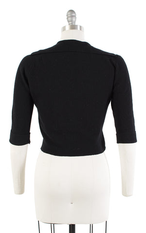1950s Sailor Collar Knit Black Cropped Wool-Blend Sweater | medium/large