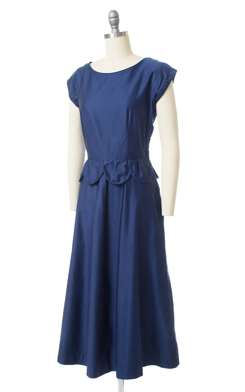 1950s Scalloped Peplum Polished Cotton Dress