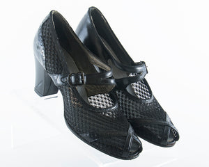 $50 & UNDER SALE || 1940s Black Leather Mesh Mary Jane Shoes | size 7