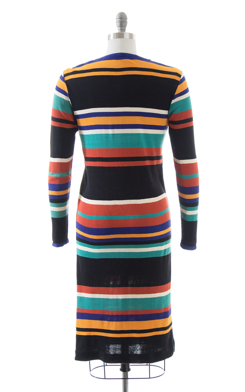 1960s 1970s Missoni Striped Knit Wool Sweater Dress