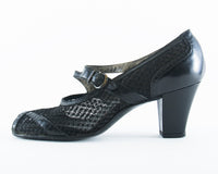 1940s Black Leather Mesh Mary Jane Shoes | size 7