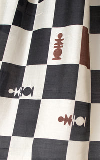 1950s Chess Novelty Print Silk Dress