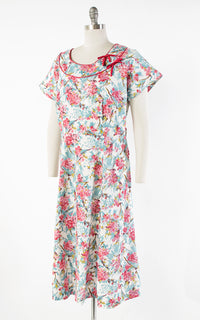 ♦ SOLD ♦ 1950s Cherry Blossom Floral Cotton Rhinestones Day Dress | x-large