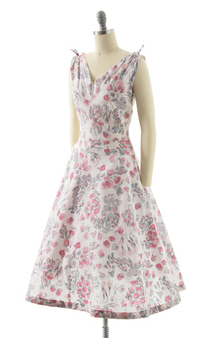 1950s Pink Floral Cotton Sundress BirthdayLifeVintage