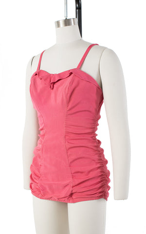 ♦ SOLD ♦ 1950s Kerrybrooke Sea Stars Pink Ruched One Piece Swimsuit | small