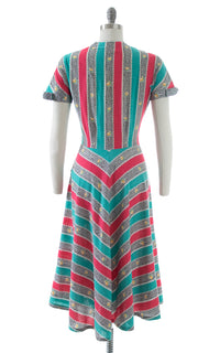 1950s Rose Chevron Striped Cotton Dress | medium