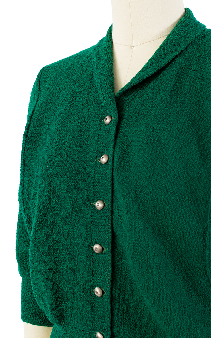 1950s Forest Green Knit Wool Cardigan | small/medium