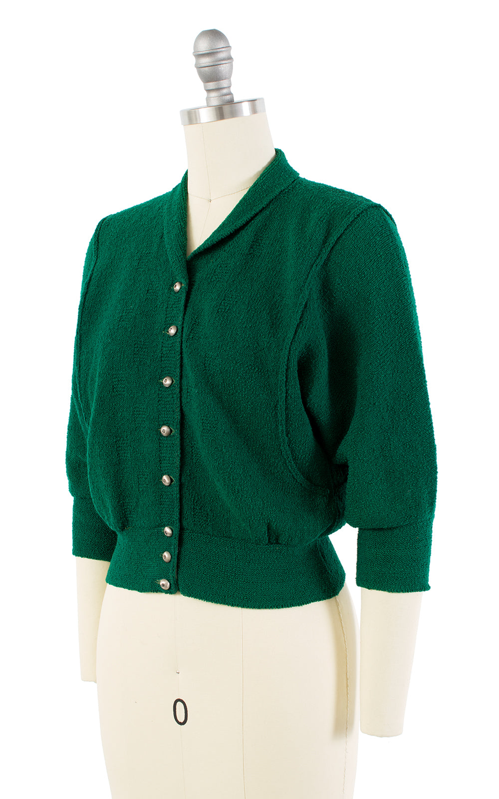 SOLD || 1950s Forest Green Knit Wool Cardigan | small/medium