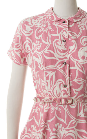 1940s 1950s Hibiscus Hawaiian Cotton Shirtwaist Dress