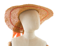 1950s Orange Wicker Wide Brim Sun Hat BirthdayLifeVintage