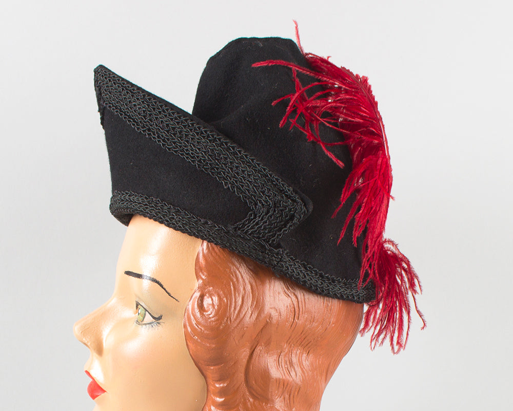 $50 & UNDER SALE || 1940s Ostrich Feather Black Wool Felt Tilt Hat