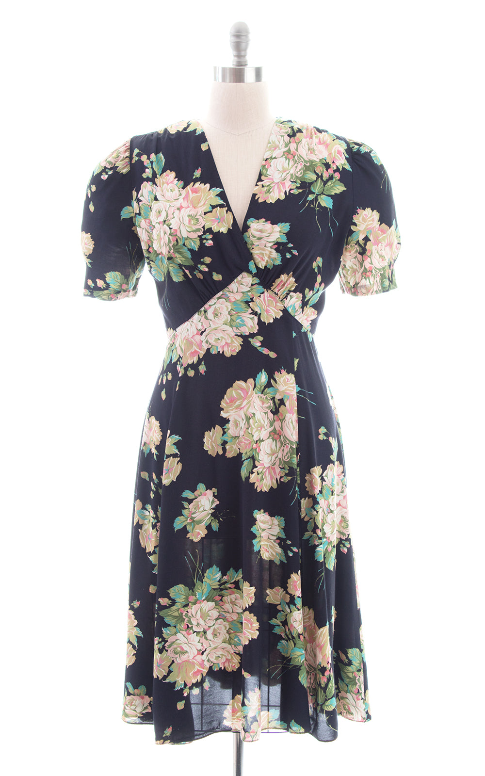 1990s does 1930s Floral Black Rayon Bias Cut Dress