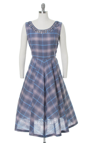 1950s Plaid Cotton Sundress & Bolero Set