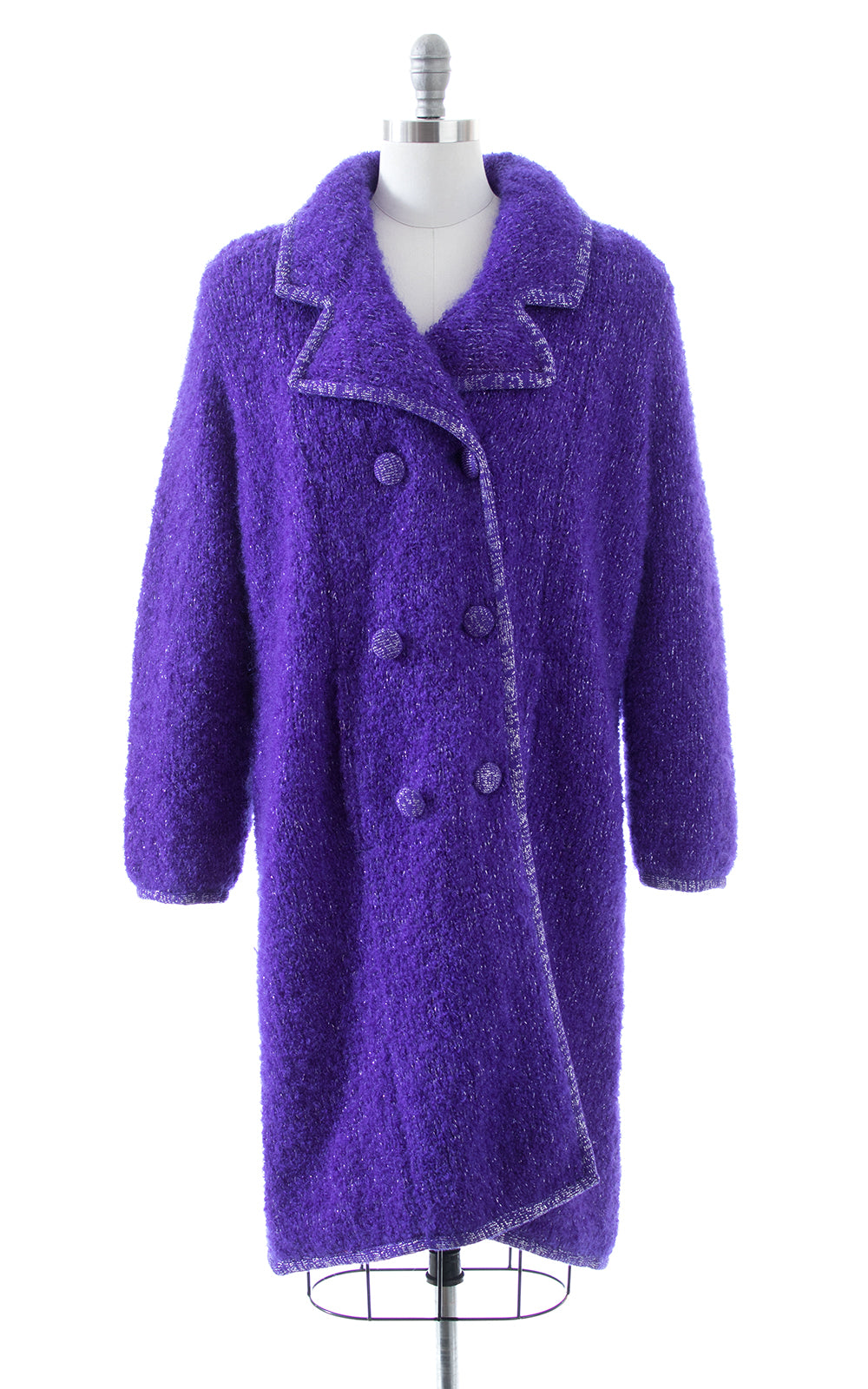 1960s Metallic Purple Wool Sweater Coat