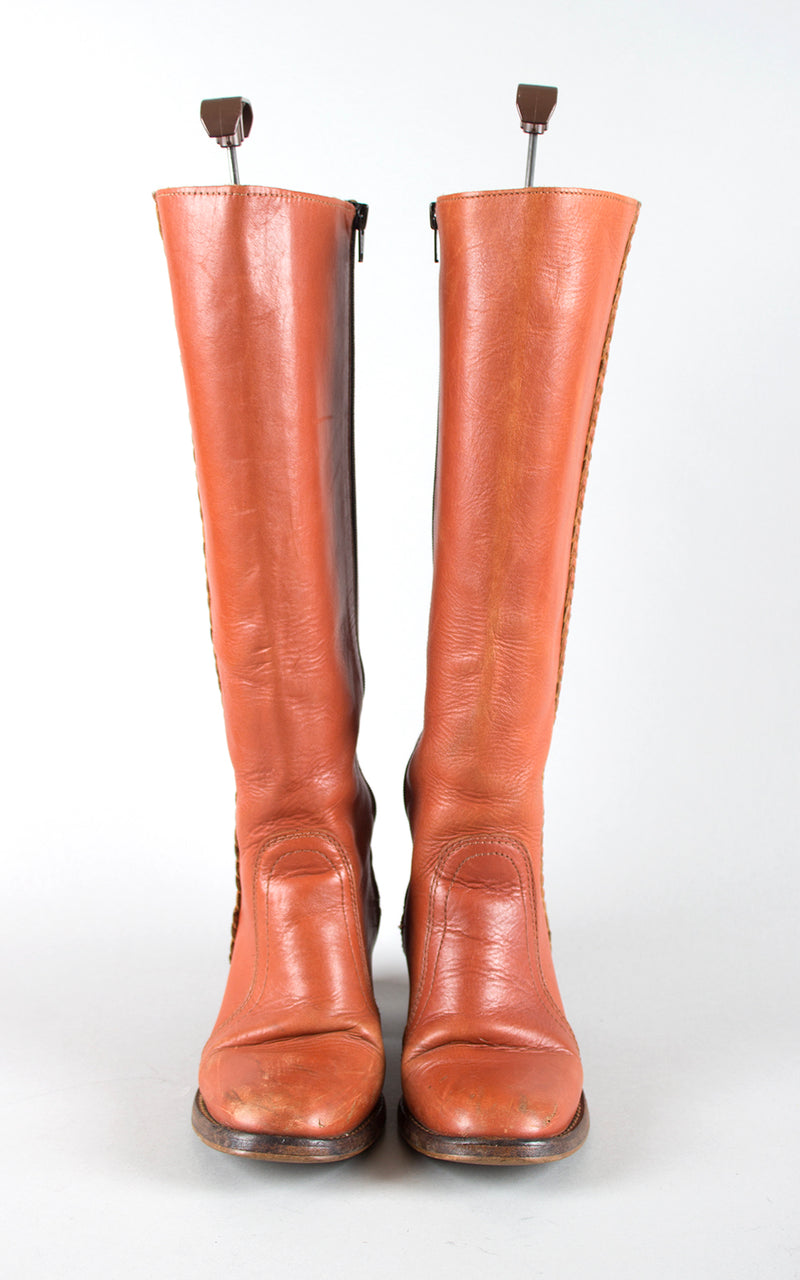 SOLD || 1970s Brown Leather Braided Knee High Campus Boots | size 8