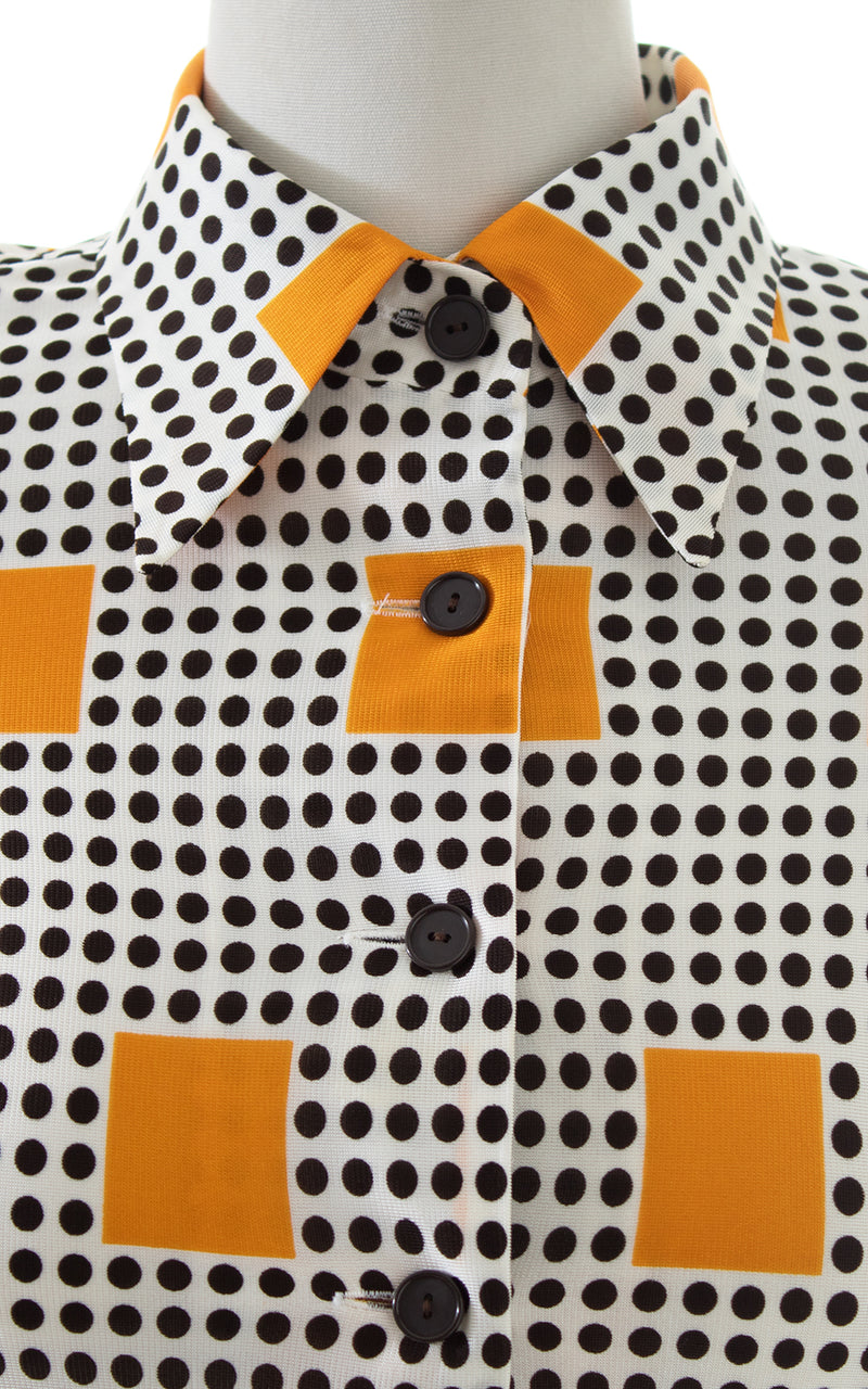 1970s 35mm Film Novelty Border Print Shirtwaist Dress | small