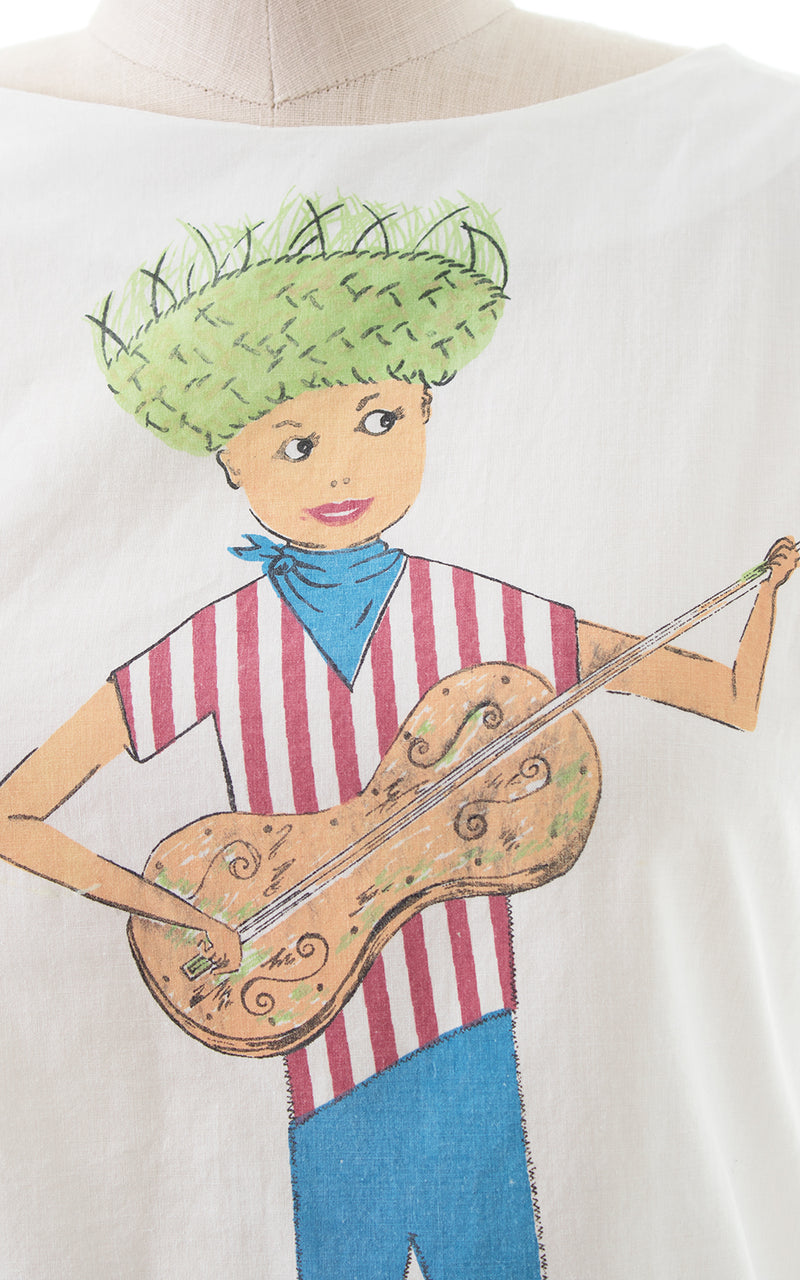 1960s Boy Playing Guitar Novelty Print Top