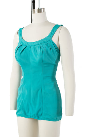 1960s Turquoise Keyhole Open Back Swimsuit | medium/large
