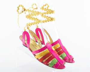 1980s Striped Leather and Suede Lace-Up Sandals | size US 10