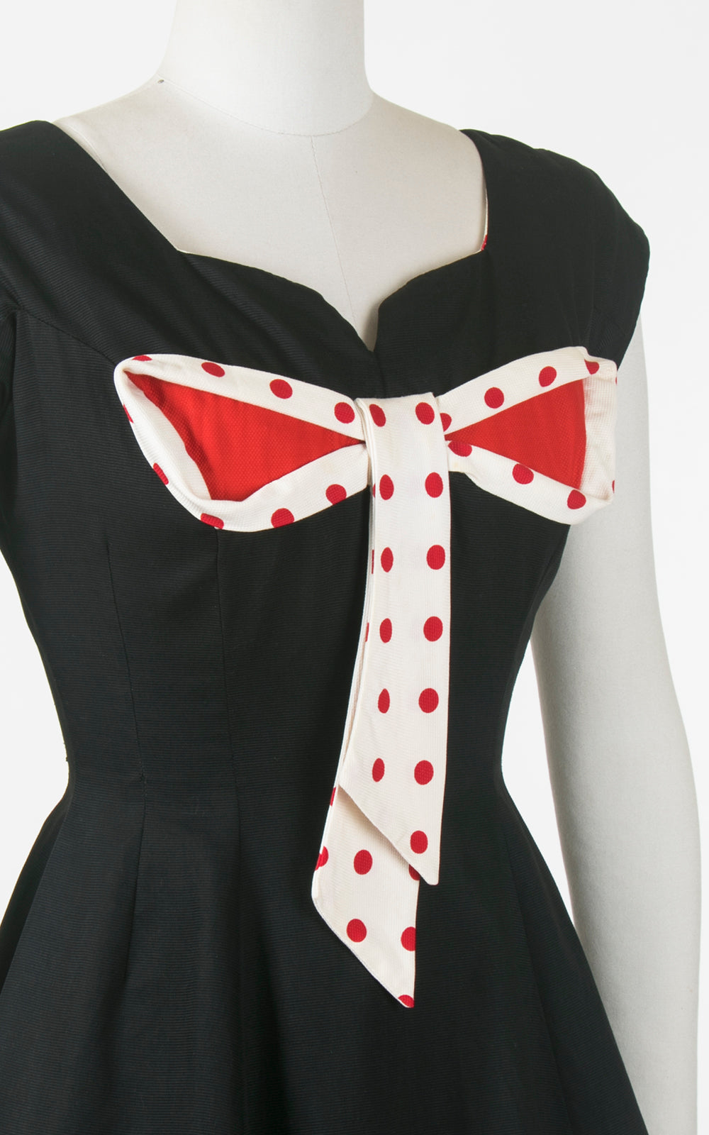 1950s Miss Elliette Polka Dot Bow Black Cotton Dress | small
