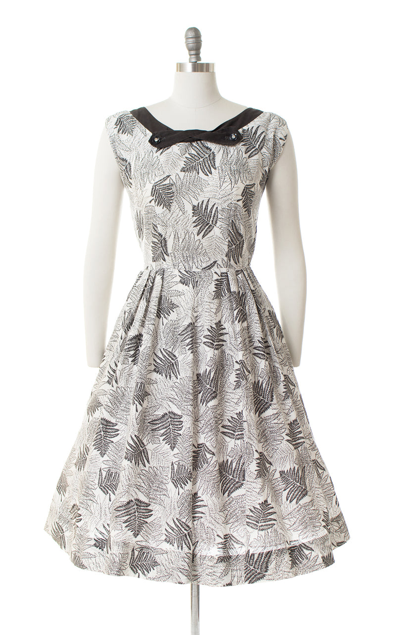 1950s Fern Print Cotton Sundress