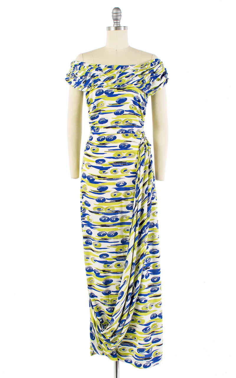 1940s Abstract Spirals Novelty Print Draped Sash Gown