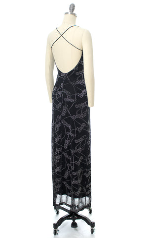 2000s Metallic Y2K Novelty Print Open Back Maxi Party Dress