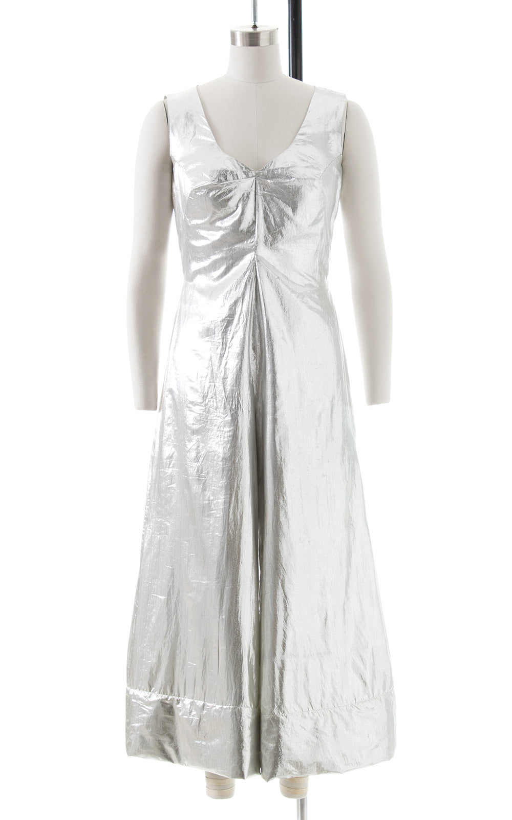 1960s Metallic Silver Cropped Palazzo Jumpsuit