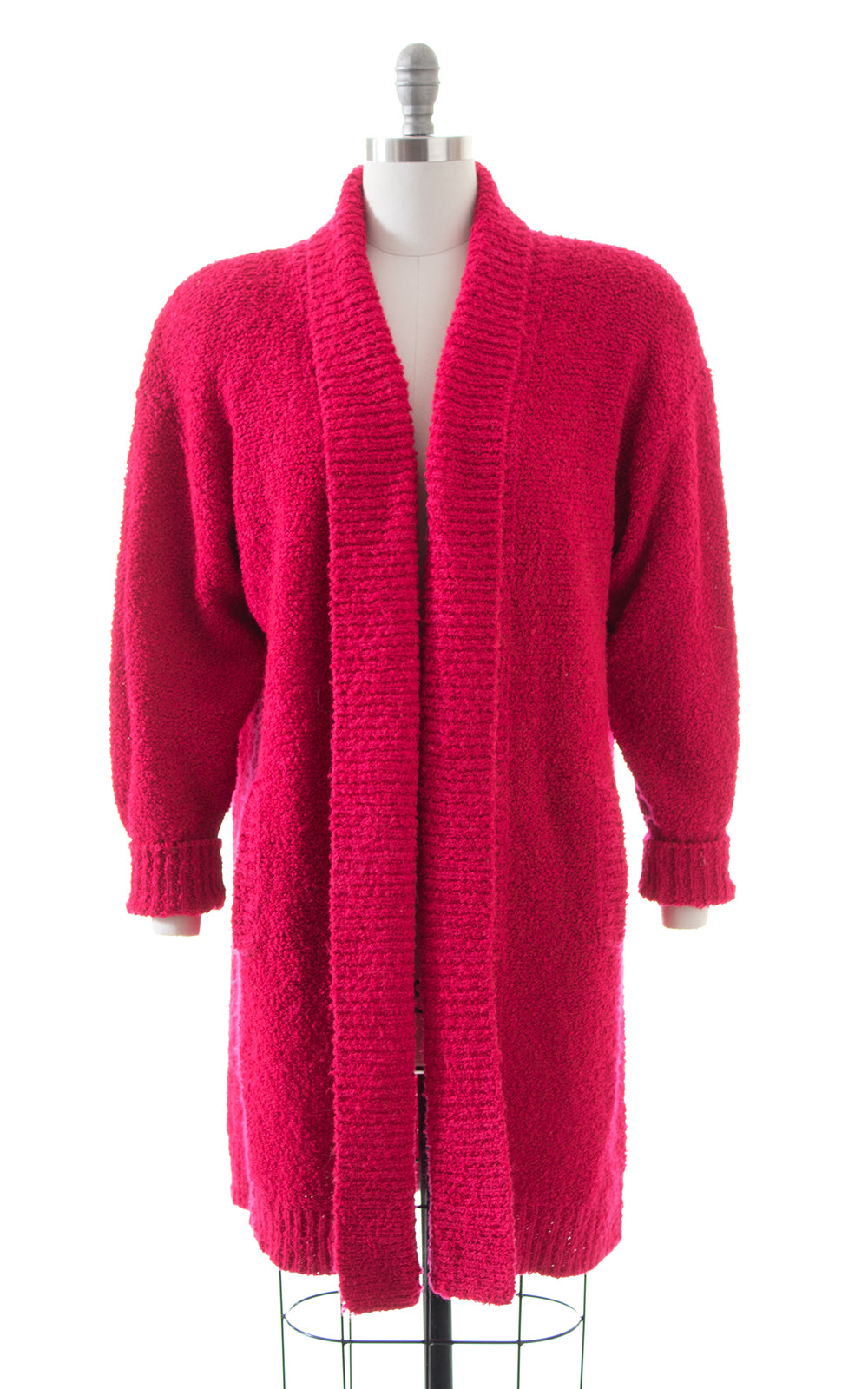 1980s Hot Pink Bouclé Knit Sweater Coat