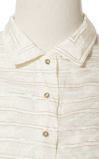 1950s Striped Gold Cream Nylon Blouse | medium