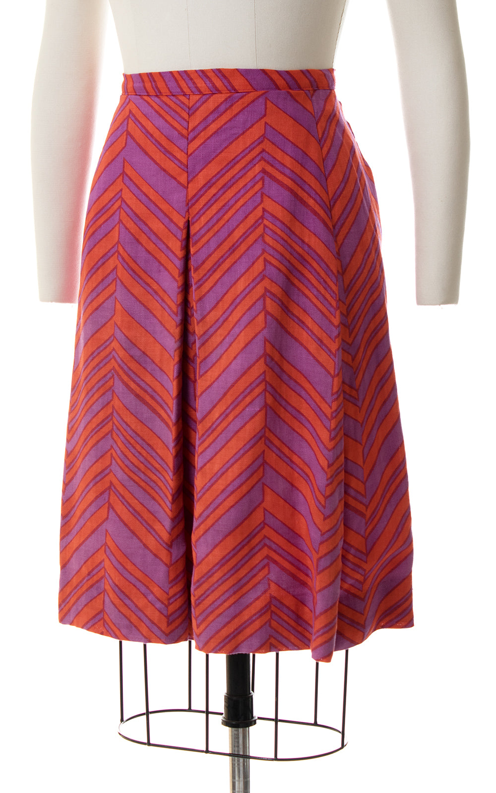 1960s Chevron Pleated Dress