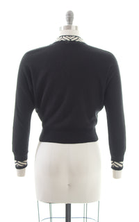 1950s Black Knit Dolman Sleeve Cropped Sweater