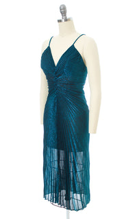 1980s Fredericks of Hollywood Metallic Accordion Pleated Party Dress