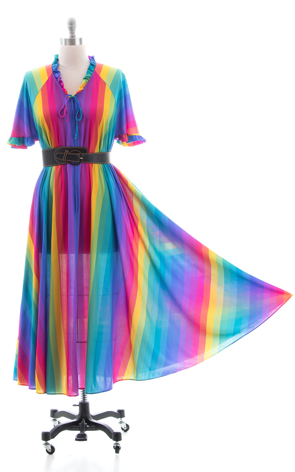 1970s 1980s Rainbow Striped Maxi Tent Dress