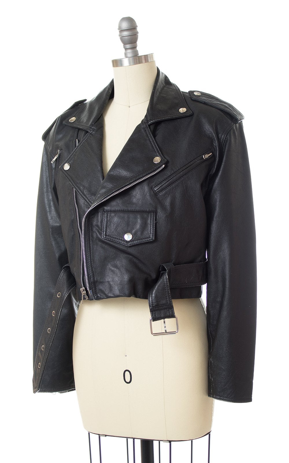 1980s Wilsons Leather Cropped Motorcycle Jacket