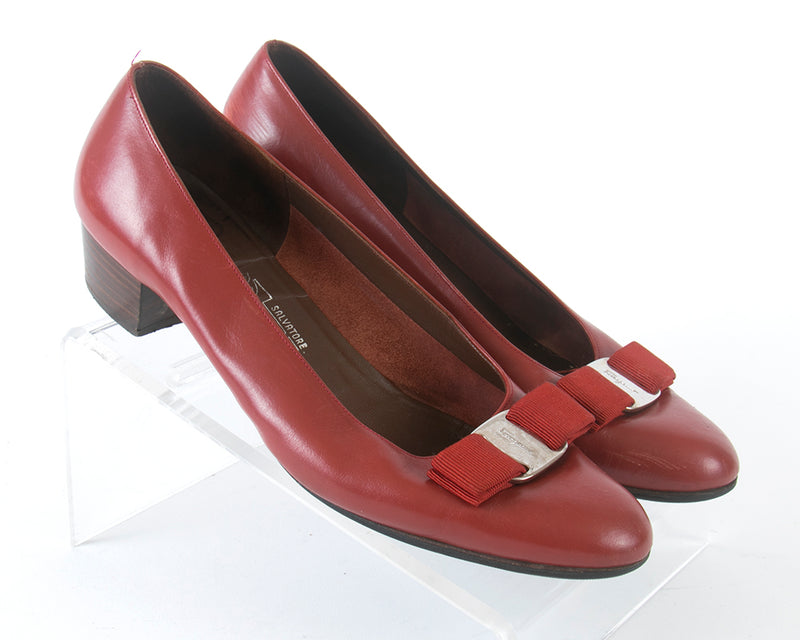 "1980s Ferragamo ""Vara"" Red Leather Flats 