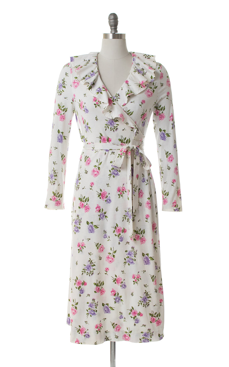 1980s Diane von Fürstenberg Rose Wrap Dress