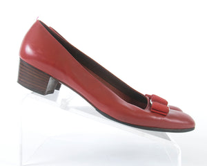 "♦ SOLD ♦ 1980s Ferragamo ""Vara"" Red Leather Flats 
