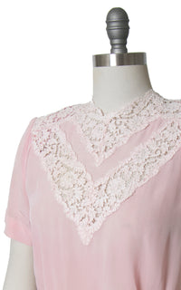 SOLD || 1940s Light Pink Rayon Lace Blouse | medium