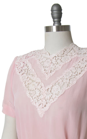 1940s Light Pink Rayon Lace Blouse | medium