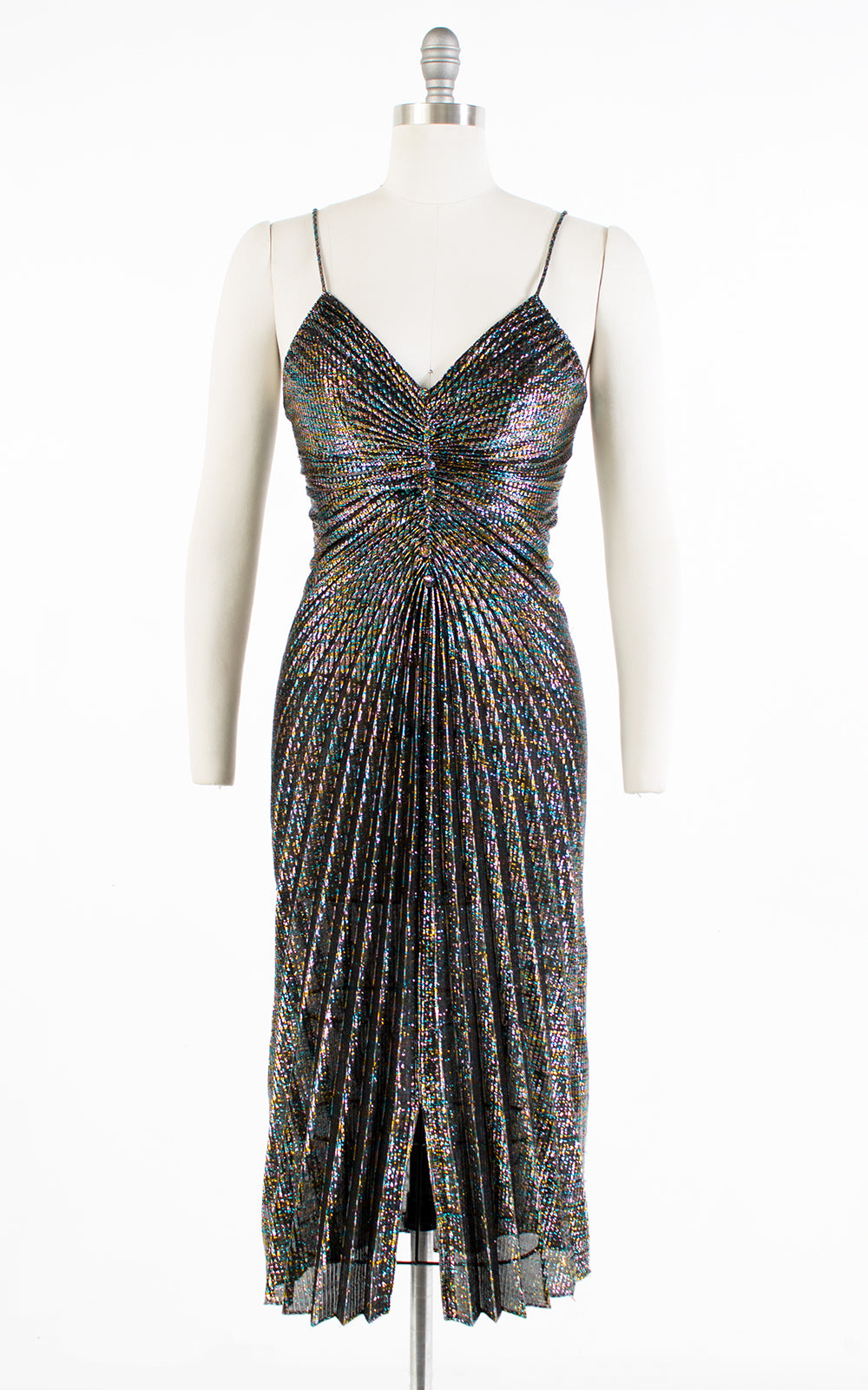 1970s Travilla Style Metallic Rainbow Pleated Party Dress | small/medium