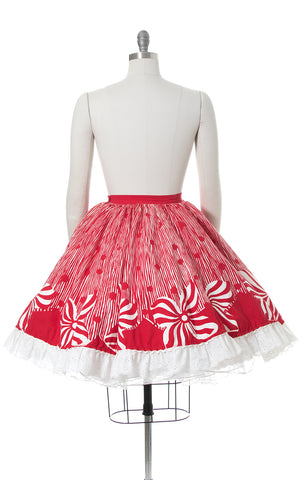 1950s Peppermint Floral Striped Border Print Circle Skirt