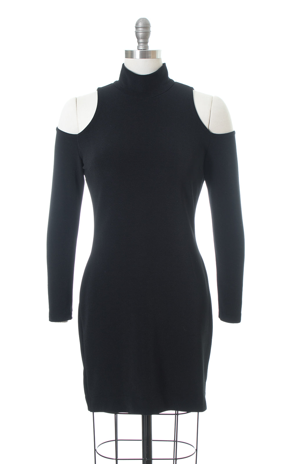 1990s Cold Shoulder Stretchy Black Mini Dress