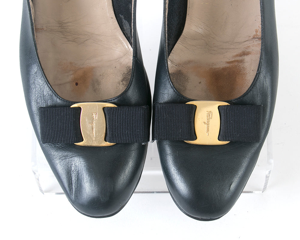 "1980s Ferragamo ""Vara"" Navy Blue Leather Flats 