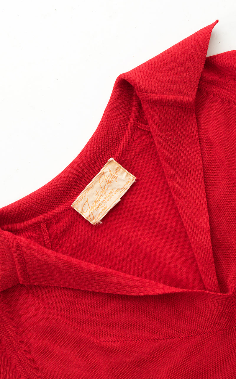 1950s Red Knit Wool Cropped Sweater