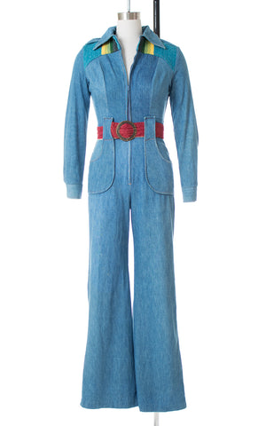 1970s Rainbow Wool & Denim Bell Bottom Jumpsuit