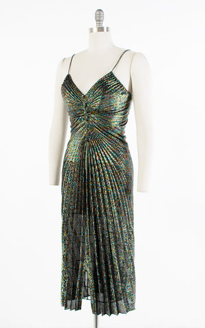 ♦ SOLD ♦ 1970s Travilla Style Metallic Rainbow Pleated Party Dress | small/medium