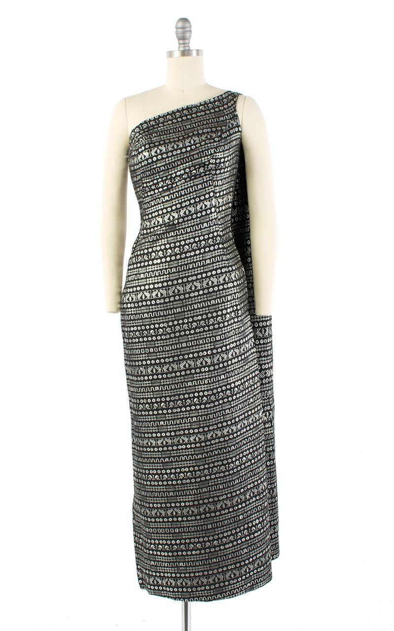 1950s Metallic Grecian Toga One Shoulder Waterfall Train Gown | medium