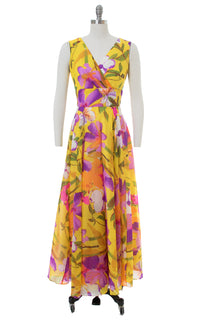 1960s Floral Chiffon Yellow Maxi Gown
