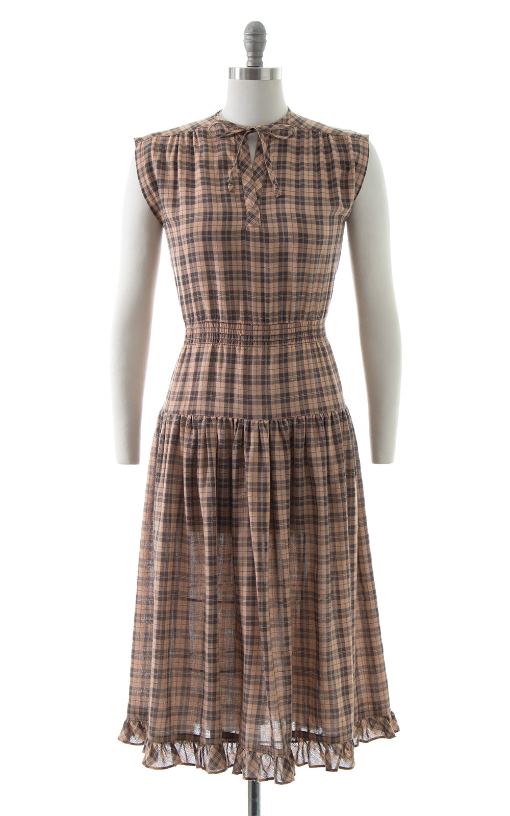 1970s Plaid Cotton Tiered Sundress